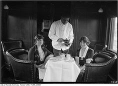 CPR train buffet car, March 1, 1925, from the City of Toronto archives.
