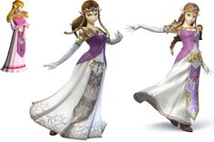 Zelda in all her Smash Bros appearances. The Wii and Wii U versions look very similar, but I feel that the clothes have improved slightly, but I feel she looks younger in the Wii U version :)