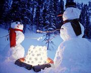 Winter / Christmas snow activity.Build this creative snowman! :o) Fun to make. String of Christmas lights give the glow.