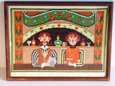 Vintage, Bar, Cross Stitch, Bartender, Bar Maid, Orange, Green, Brown, Retro, 1970s, Ready to Hang, Home Decor