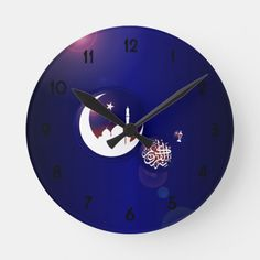 Shop Ramadan Mosque in Crescent Moon with Fanous Blue Round Clock created by HolidayBug. Ramadan Gifts, Ramadan Mubarak, Eid Mubarek, Ramadan Lantern, Allah Calligraphy, Dark Blue Background, Activity Games, Mosque, Hand Coloring