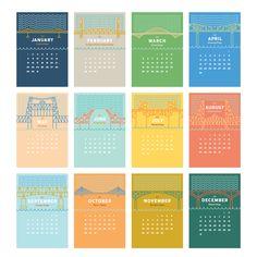 Portland Bridges Desktop Calendar - Tender Loving Empire