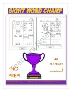 Sight Word Champs (NO PREP) Pre-Primer from LearningandGrowing on TeachersNotebook.com -  (46 pages)  - Sight Word Champs (NO PREP) Pre-Primer Dolch List