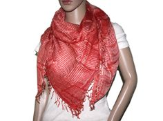 Square Orange stripe Bamboo scarf