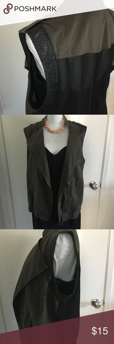 Utility Vest with Chiffon Back Dark Army green/gray utility vest. Size XL from Forever 21+. Zipper detail on neck. Black sheer chiffon back. Faux leather detailing on arms. Real pockets. Zip up. Elastic bottom waist. Like new condition, only worn a couple times. Forever 21 Jackets & Coats Vests
