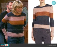 Nicole's striped sweater on Days of our Lives.  Outfit Details: https://wornontv.net/68507/ #DaysofourLives