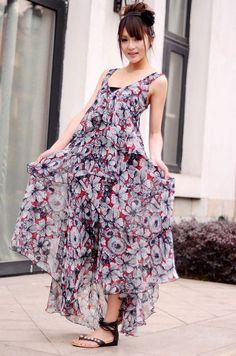Women V Neck Jorya Mutil-Coloured Ankle Length Sleeveless Chiffon Layer Beach Dress One Size@II0139