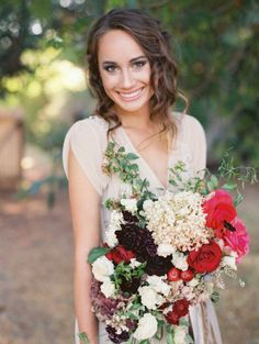 Gorgeous autumn bouquet + BHLDN dress