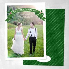 "Newlywed Holiday Cards: ""Be Merry + Married"" (Giveaway) 