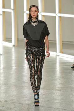 Rodarte Spring 2013  Pants with vertical stripes always make you look bow legged.