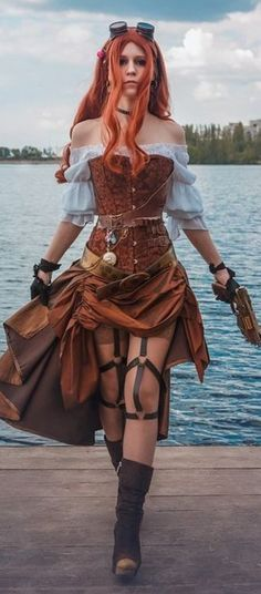 Corset Steampunk Pirate A beautiful brown corset that you can wear on your skin or on a vintage shirt. It is perfect for a pirate or any cosplay in adventurous outfit! Moda Steampunk, Steampunk Couture, Steampunk Store, Viktorianischer Steampunk, Steampunk Design, Steampunk Clothing, Gothic Clothing, Steampunk Outfits, Steampunk Dress