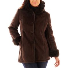 Excelled Leather Hooded Faux-Shearling Coat - Plus  found at @JCPenney