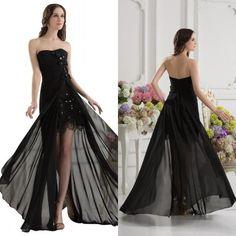 Tidetells Elegant Strapless A Line Beading Sweetheart Party Chiffon Evening Gown Full Length Black 2015 Prom Dress