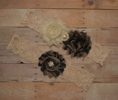Camouflage Wedding Garter Set Ivory Stretch by HavingFunWithCrafts, $18.90