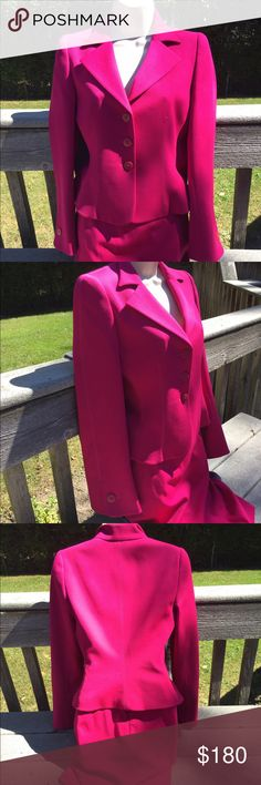 """Pink Armani Suit The skirt is s size 6  97% Lana virgin wool 3% Lycra  and the lining is polyester and Lycra  the skirt is 21""""  across the top laying flat is 15"""" the bottom is 17"""" tiny pull shown in last picture. The jacket is the same materials and a size 4  length is 20""""  under the arms across laying flat is 16 1/2""""  across the very bottom is 18""""  the sleeves from top of shoulder down is 24"""" Armani Collezioni Other"""