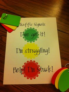 "Traffic Signals for independent practice and group work... Foam ""gift tags"" and key chains."