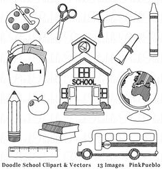 Doodle School Clipart Clip Art, Hand Drawn Sketched School Teacher Clip Art Clipart and Vectors - Commercial and Personal Use by PinkPueblo on Etsy https://www.etsy.com/listing/130152932/doodle-school-clipart-clip-art-hand