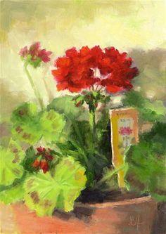 """""""Geranium in Red"""" - Original Fine Art for Sale - © Linda Jacobus"""