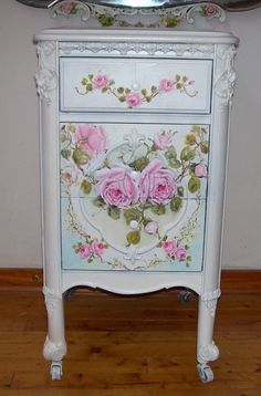 Image detail for -Antique French Night Table Roses