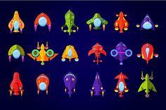 Flying Saucer, Spaceship And UFO Set ~ Web Elements on Creative Market Diy Mask, Diy Face Mask, Face Masks, Space Ship Games, Aliens, 2d Game Art, Space Illustration, Illustrations, Easy Sewing Patterns