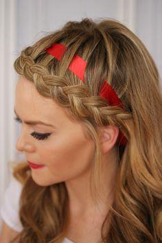 Dutch Braided Headband with a Ribbon