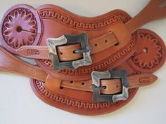 New Handmade TY BARTON Pass Through Border Stamp Spur Straps STEPHEN WHITE Buckles