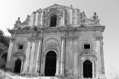the abandoned Baroque church of San Matteo in the heritage town of Scicli, Sicily, Italy