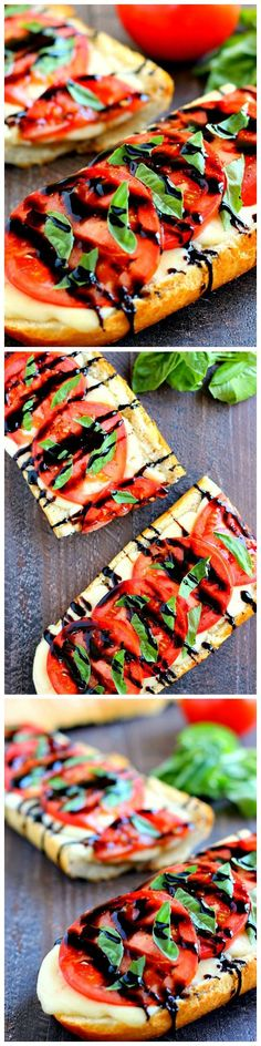 This Toasted Caprese Garlic Bread is made with hints of garlic and topped with ripe tomatoes, fresh basil, and creamy mozzarella cheese! Balsamic vinegar of Modena Great Recipes, Favorite Recipes, Vegetarian Recipes, Cooking Recipes, Snacks, Fresh Basil, Appetizer Recipes, Appetizers, Garlic Bread