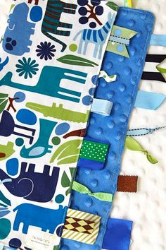 Baby Boy Tag Blanket Sensory Lovey   2D Zoo Animals by ThePoshTots, $19.50