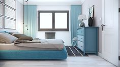Small bedroom design in blue and light natural color palette. The bed is from Poliform and the tables are B&B Italia`s Husk. Design by Tsvetan Stoykov.