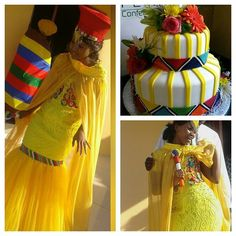 South African Traditional Dresses, African Traditional Wedding, Traditional Wedding Cakes, Traditional Outfits, African Print Dresses, African Dress, African Beauty, African Fashion, African Wedding Cakes