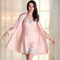 Robe Gown Sets Sexy Lace Lingerie Set Women's Sleepwear 2 Pieces Sleep Suits Pajama Sets Womens Nightwear Spring Night Skirts