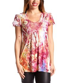 This Pink & Orange Animal Sublimation Crochet-Back Top by Simply Irresistible is perfect! #zulilyfinds