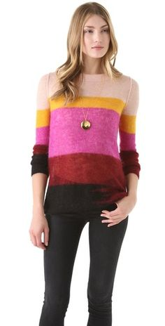 Sonia by Sonia Rykiel Striped Mohair Pullover $295.00 #colorwork