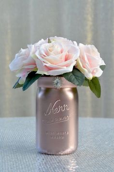 Mason jar wedding centerpiece rose gold centerpiece with pink blush roses & brooch. rustic shabby chic wedding centerpiece or wedding decor. Rose Gold Centerpiece, Wedding Centerpieces Mason Jars, Wedding Decorations, Table Decorations, Rose Wedding, Chic Wedding, Trendy Wedding, Luxury Wedding, Wedding Flowers