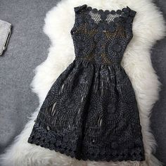 Vintage Hollow Out Gold Thread Embroidery Slim Dress |Fashion Dresses - Clothing & Apparel|ByGoods.com