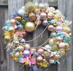 ~ HandCrafted ~ ╔═.♥.══════╗ ElegantWreath Vintage Easter Holiday Spring Back in Time with this HandmadeVintage EasterOrnament Wreath! This Wreath featuresan Assortment of Glass and WoodOrnaments in a Colorful Parade of Easter Colors! This unique, one of a kind wreath