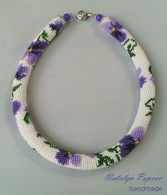 "Авторський джгут ""Фіалки""  #handmade #jewelry #crochet #crochetbeadrope #necklace #beadnecklace #flowers #violet"