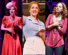 Jessie Mueller in her three Tony-nominated roles: Melinda Wells (On a Clear Day You Can See Forever), Jenna (Waitress), and Carole King (Beautifull).