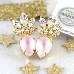 Pink Swarovski Crystal Stud Earrings These earrings are unique made of High quality genuine Austrian Swarovski crystals Perfect for parties weddings &