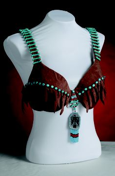 Bra designed by Crissy and Mary Bilardello titled The Talisman. The bra is inspired by Native American art and clothing. This bra symbolizes the steps and obstacles women have to take to overcome breast cancer.