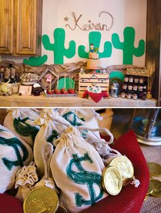 This Outlaw Hoedown Western Themed Birthday Party had a Wanted sign invitation, cowboy hats, badges and mustaches, cowboy cake topper + mason jar pecan pies
