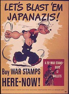 """""""Let's Blast 'Em Japanazis, Buy War Stamps Here Now"""" (Popeye) (1941-1945) WWII Propaganda"""