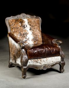 Check out the cowhide/western chair with it's carved frame and cowhide back. Genuine cowhide and rustic leather combine to make a big statement on this western chair. Shop with confidence at Anteks Home Furnishings, we've been in business for almost 30 ye Cowhide Furniture, Cowhide Chair, Western Furniture, Country Furniture, Leather Furniture, Upholstered Furniture, Unique Furniture, Living Room Furniture, Home Furniture