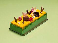 Pâques 2014 I Easter bunny I Oberweiss I Sablé breton, biscuit aux amandes, crémeux pistache, gelée de framboise, bavaroise vanille.