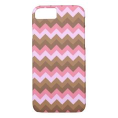 Pink Brown Zigzag Chevron Pattern iPhone 8/7 Cases - pattern sample design template diy cyo customize