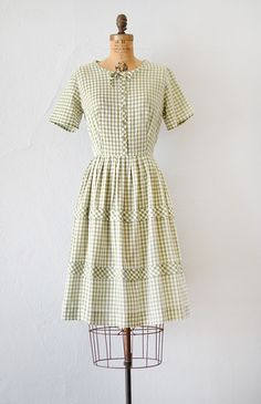 vintage 1960s light green gingham day dress