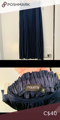 Navy Pleated skirt Brand new never worn pleated maxi skirt Etiquette Clothiers Dresses Maxi Navy Pleated Skirt, Plus Fashion, Fashion Tips, Fashion Trends, Etiquette, Skirts, Collection, Things To Sell, Dresses