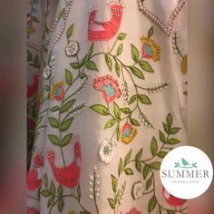 Beautiful classy peacocks and floret lata design hand embroidery thread and bead work on lehenga. Summer Lehengas now at Stores . Embroidery Suits Punjabi, Zardozi Embroidery, Embroidery Suits Design, Indian Embroidery, Embroidery Fashion, Hand Embroidery Patterns, Beaded Embroidery, Embroidery Stitches, Brazilian Embroidery