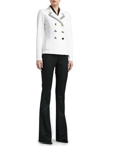 Double Milano Knit Pea Coat, Tie Blouse & Annabel Narrow Boot-Cut Pants by St. John Collection at Neiman Marcus.